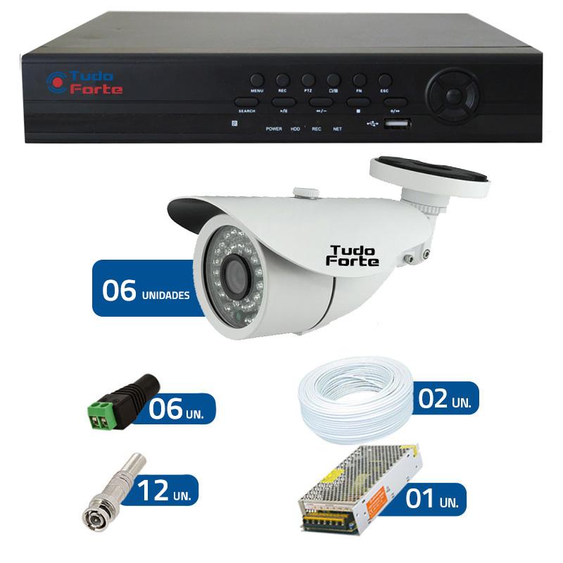 Kit de Câmeras de Segurança Tudo Forte - DVR Tudo Forte 8 Ch AHD 1080p + 6 Câmeras Bullet Infravermelho AHD M Tudo Forte HD 720p 1.0M 3,6mm 36 Leds IP 66 IR 30 metros + Acessórios