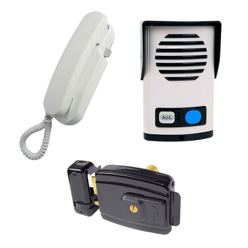 Kit Interfone Porteiro Eletrônico AGL P 10 + Fechadura Elétrica AGL AL 100 abertura interna 12v ou 110v