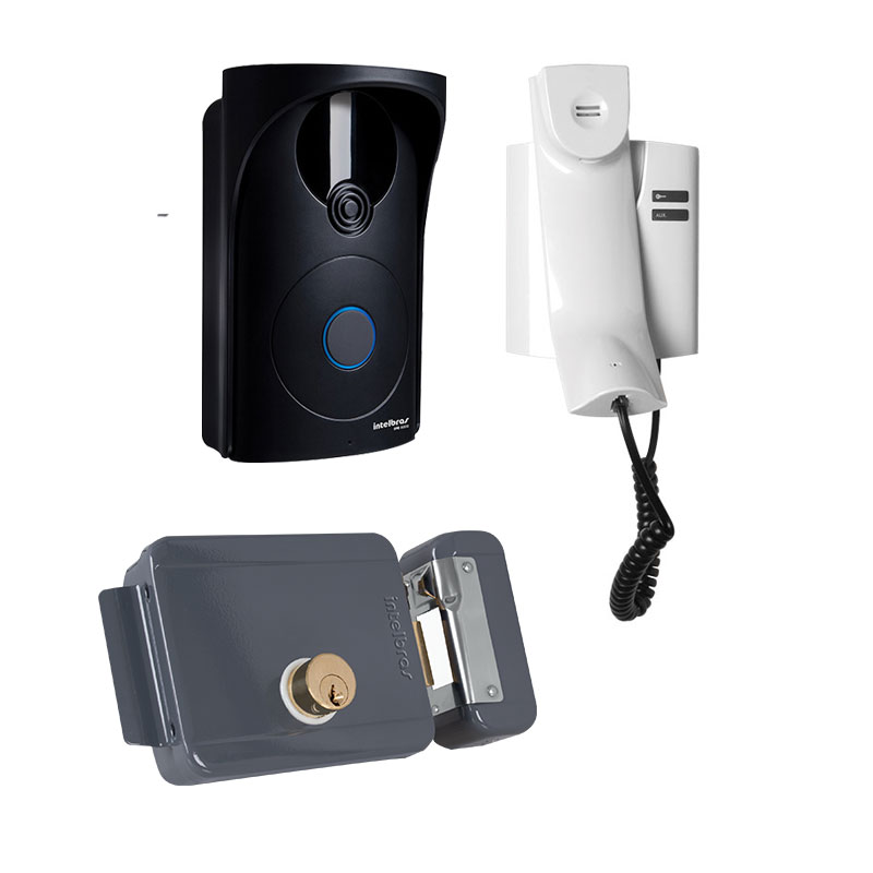 Kit Porteiro Residencial Intelbras IPR 8000 + Fechadura Elétrica de Sobrepor Intelbras FFX 1000