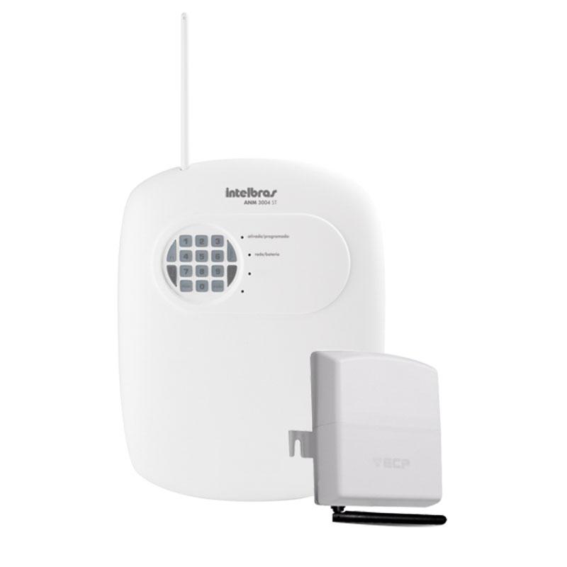 Kit Central de Alarme Com e Sem Fio Intelbras ANM 3004 ST c / até 4 Zonas + Discadora via Chip de Celular GSM ECP Conect Cell