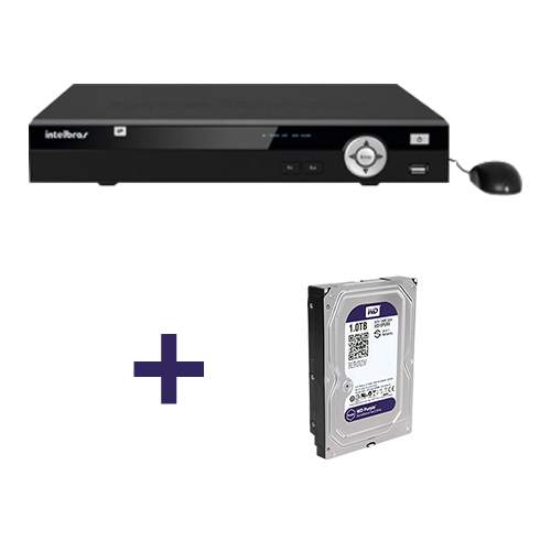 NVR, HVR Stand Alone Intelbras NVD 1008 8 Canais, para Camera IP + HD 1TB WD Purple de CFTV