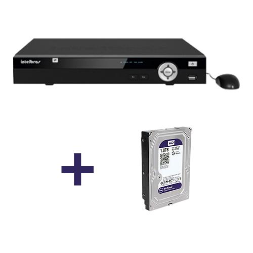 NVR Stand Alone Intelbras NVD 1008 P 8 Canais IP +  HD 1TB WD Purple de CFTV