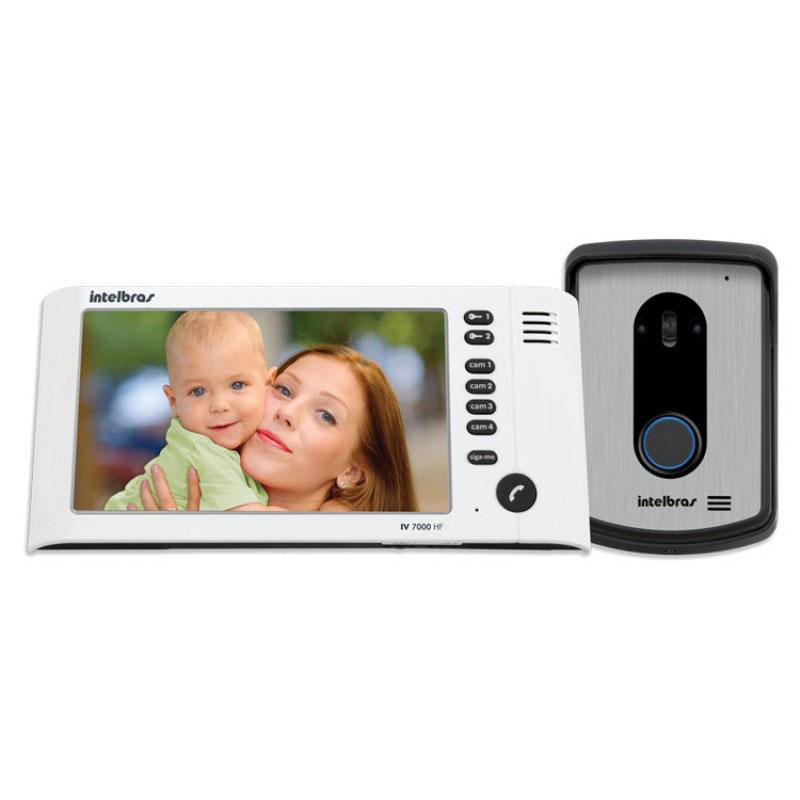 Kit Vídeo Porteiro Interfone Intelbras IV 7010 HF Viva Voz, Visualiza até 04 Cameras, Atende por Celular, abre 2 portões, Tela LCD 7 ´