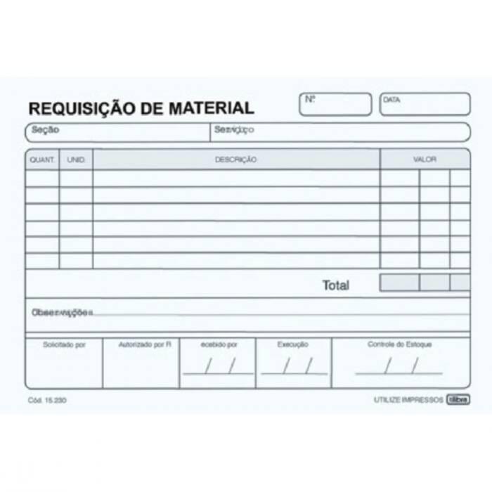 Bloco Requisição Material Simplificado 152307 Tilibra
