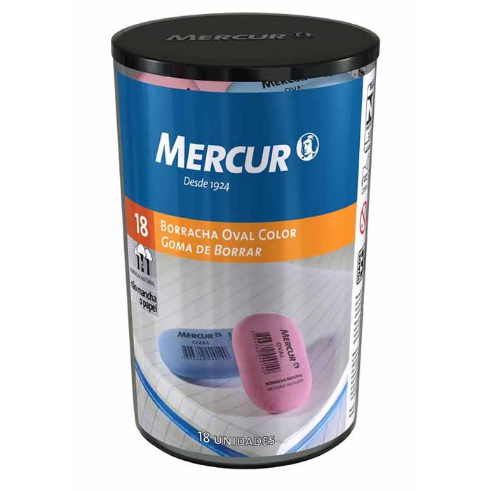 Borracha Oval Colorida C/ 18 Un. Mercur