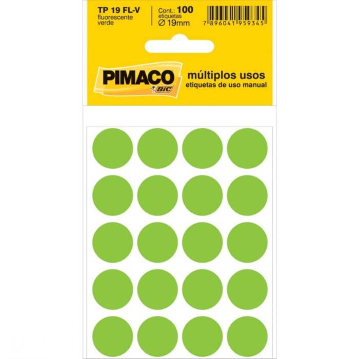 Etiqueta Pimaco TP 19 Fl-V Verde Redonda