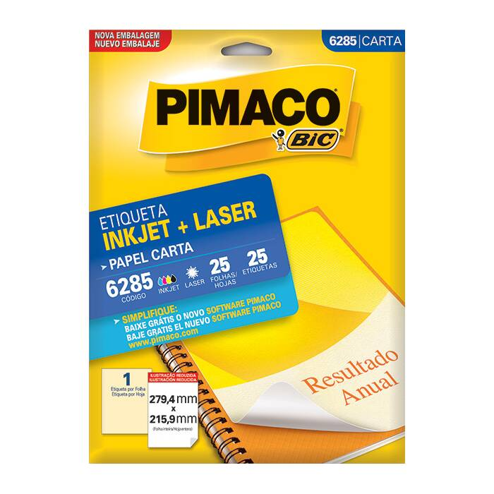 Etiqueta Pimaco InkJet + Laser - 6285