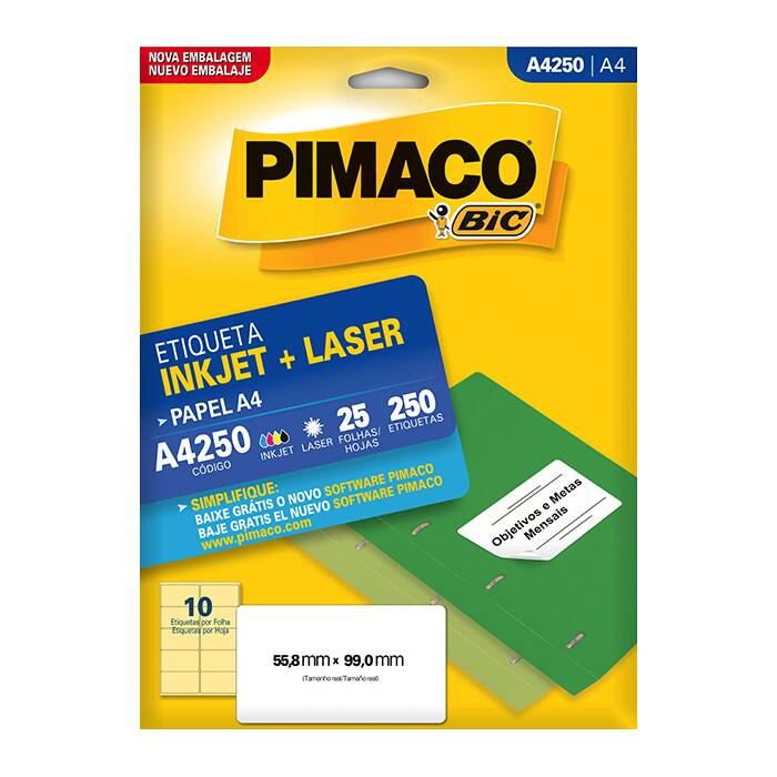 Etiqueta Pimaco InkJet + Laser - A4250