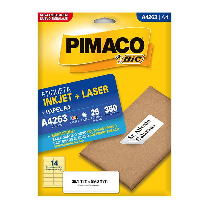 Etiqueta Pimaco InkJet + Laser - A4263