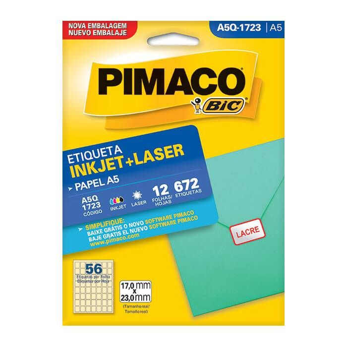 Etiqueta Pimaco InkJet + Laser - A5Q-1723