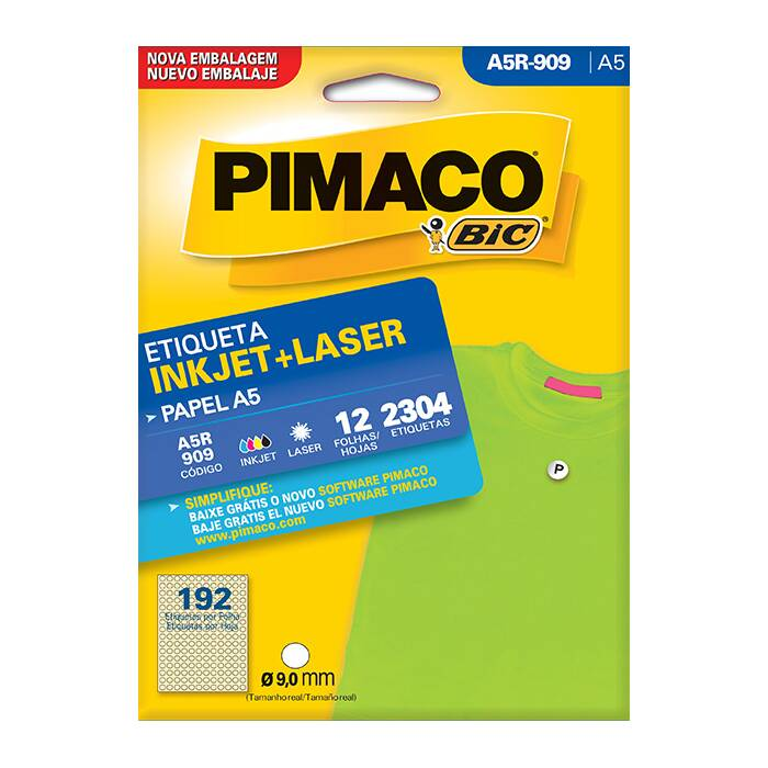 Etiqueta Pimaco InkJet + Laser - A5R909