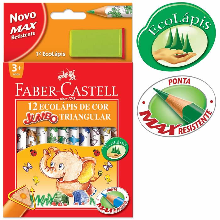 Lápis de Cor 12 Cores Jumbo Triangular Estampado 123012AP Faber-Castell