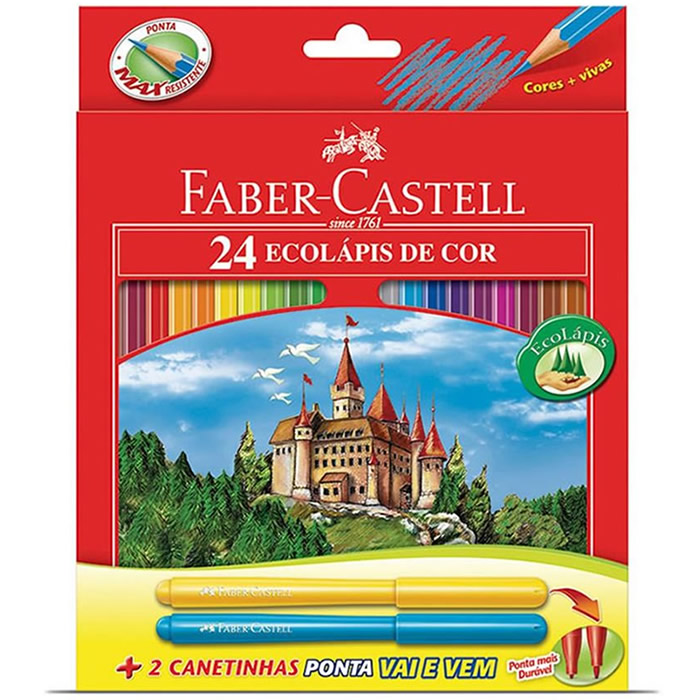 Lápis de Cor 24 Cores + 2 Canetinhas Ponta Vai e Vem 120124+2 Faber-Castell