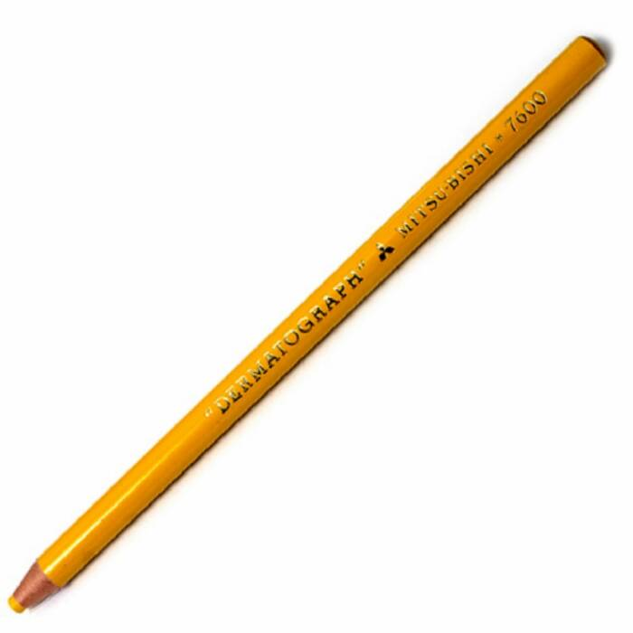 Lápis Dermatografico Mitsubishi Redondo Amarelo Caixa C/ 12 Un.