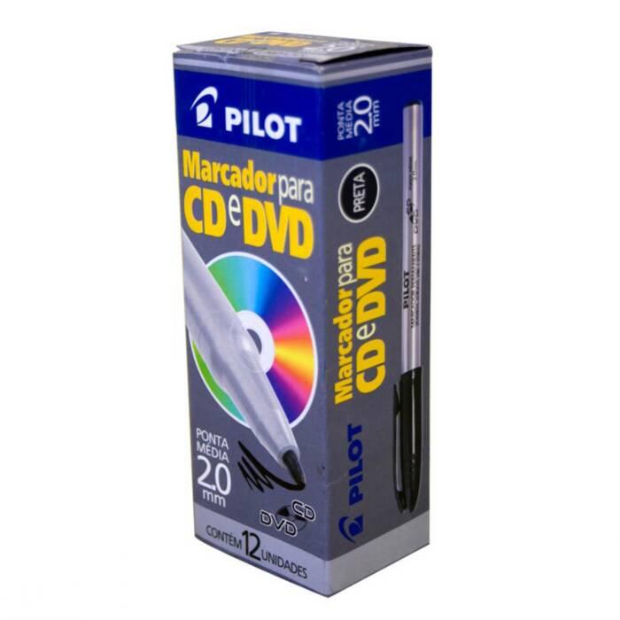 Marcador Permanente 2.0mm Preto P/ Capa Dura/Plast/Vidro/Vinil CX. C/ 12 Un. Pilot