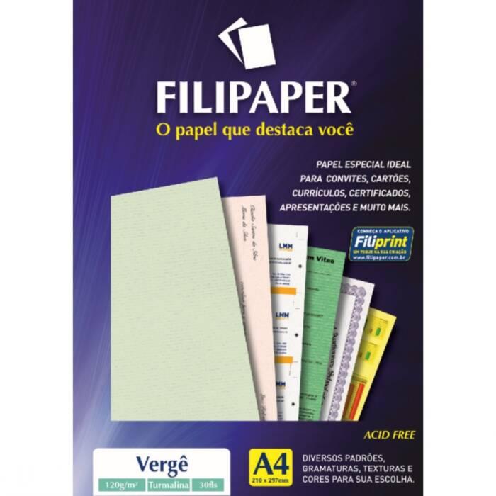 Papel Verge Verde Claro A4 120g C/ 50 Fls 01363 Filipaper
