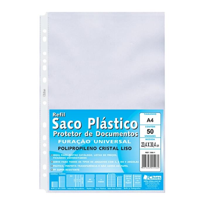 Refil Plástico 13 Furos A4 PCT C/ 50 Un. 1360-1 Chies