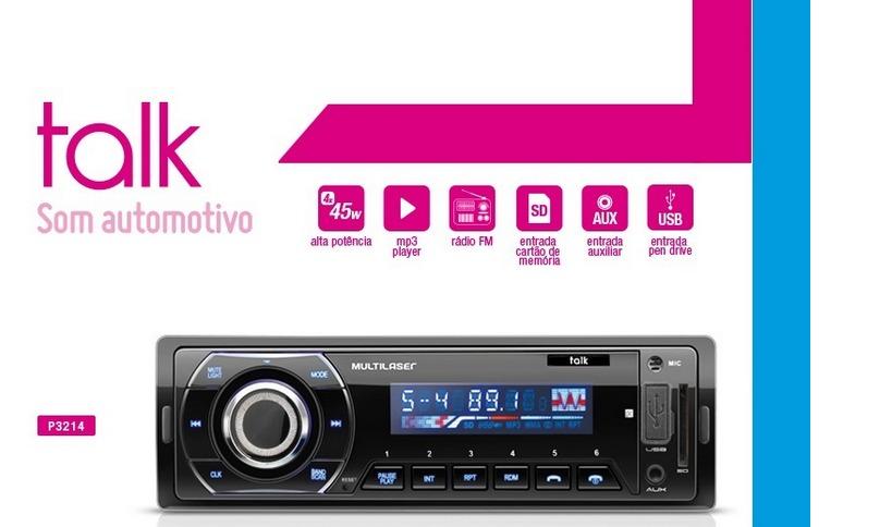 Rádio Automotivo Talk Multilaser P3214 Bluetooth - Mp3