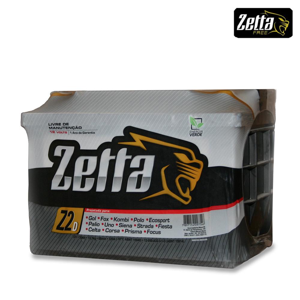 Bateria Autom Zetta Moura 50 Amperes Z2D/E   1 Ano de Garantia Selada