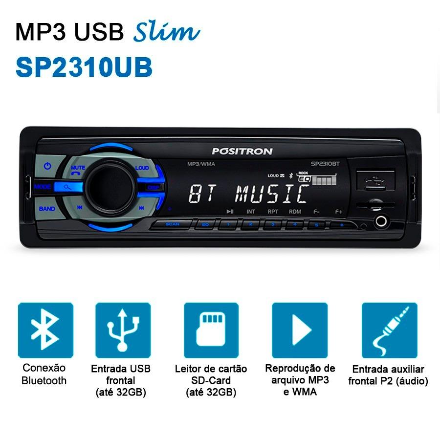 Auto Rádio Mp3 Positron Sp2310bt C/ Bluetooth Usb Micro Sd