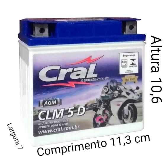 Bateria Moto Cral CLM 5D 12V 5A CG125 - Titan150KS - Biz  Honda Suzuki -