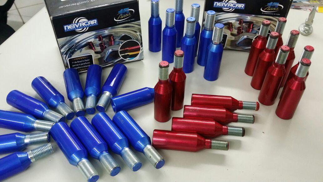 Parafuso Colorido Lob Fiat Longo - Vermelho - Azul