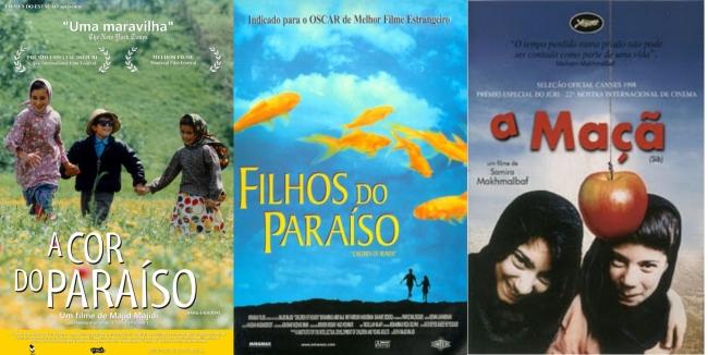 3 DVD´s A COR DO PARAÍSO (1999) + FILHOS DO PARAÍSO (1997) + A MAÇÃ (1998)  - FILMES RAROS EM DVD