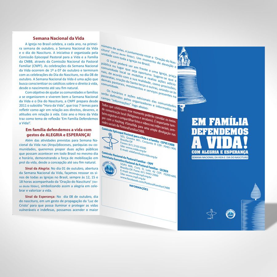 Fôlder EM FAMÍLIA DEFENDEMOS A VIDA! Com alegria e esperança (Pack com 500 folders)  - Pastoral Familiar CNBB