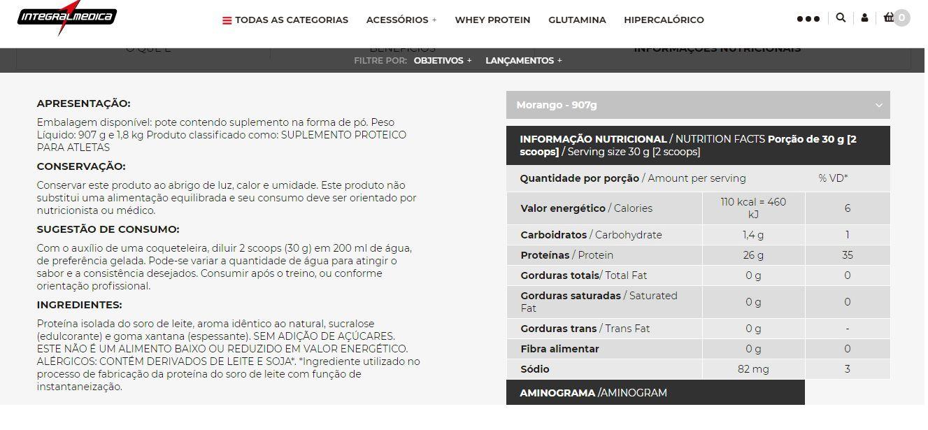 Whey Isolado 900 g  Morango INTEGRALMÈDICA  - Orluz