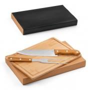 Kit churrasco 3 Peças em aço Inox e Bambu
