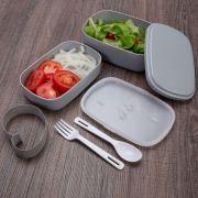 Marmita Plástica Personalizada com 2 Compartimentos + Talheres