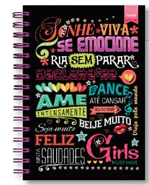 CADERNO PEQUENO MODELO 621 EXECUTIVE NOTES CAPA GIRLS MUST HAVE MARCA POMBO  - Empório das Variedades
