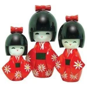 Kit 2 Conjuntos Boneca Kokeshi Trio Preto E Vermelho  - PRESENTEPRESENTE