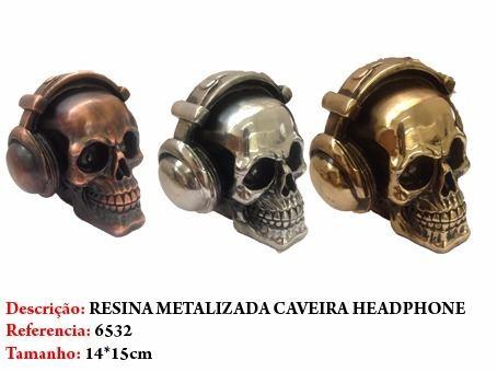 Mini Cranio Caveira Resina fone headphone Metalizada  - PRESENTEPRESENTE