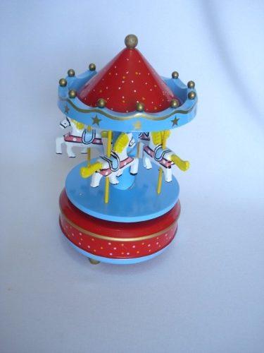 Mini Carrossel Caixinha Musical Azul/vermelho  - José Geraldo Almeida Marques