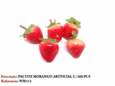 Conjunto Pacote 200 Und. Morango Artificial Decoração Festa  - PRESENTEPRESENTE