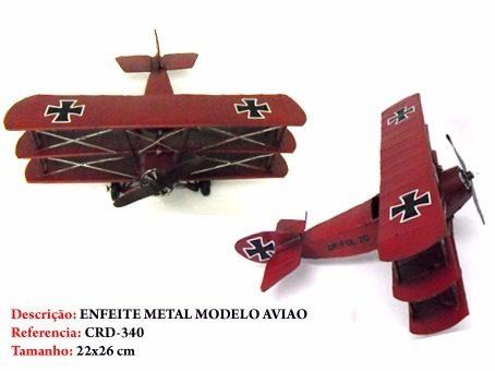 Avião Batalha Barão Vermelho Miniatura Metal  - PRESENTEPRESENTE