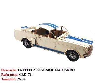 Carro Esporte Metal Decoração Branco Azul Vintage  - Presente Presente