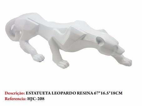 Estatua Leopardo Branco Resina 67cm  - PRESENTEPRESENTE