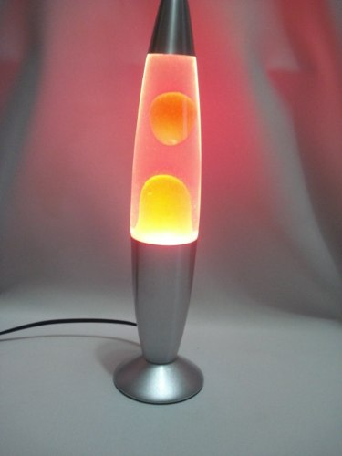 Luminária Abajur Lava Lamp Motion 34cm Pink Base Prata.  - PRESENTEPRESENTE