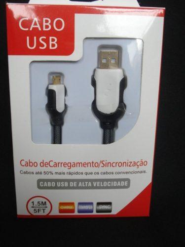 Cabo Usb Fast Charger 1,5m Samsung S3 S4 S5 V8 Branco Preto  - PRESENTEPRESENTE