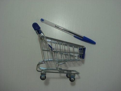Carrinho Supermercado Organizador Mesa Porta Canetas  - PRESENTEPRESENTE