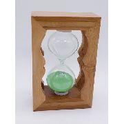 Ampulheta Madeira Areia Verde Relógio Decoração