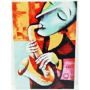 Placa Metal Musical Saxofone 41x29cm Moderna Anúncio com variação