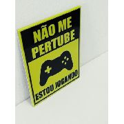 Placa Metal Gamer Não Perturbe 27x20cm Coleção Jogos Anúncio com variação