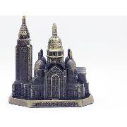 Miniatura Basilica Sagrado Coração Paris Metal Enfeite Gold