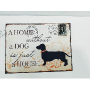 Placa Metal Casa Sem Cachorro 40x30cm Decoração Coleção