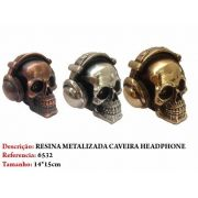 Mini Cranio Caveira Resina fone headphone Metalizada