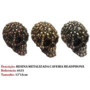 Mini Cranio Caveira Resina Metalizada Luxo Headphone