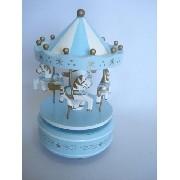 Mini Carrossel Caixinha Musical Azul Bebê Com Branco